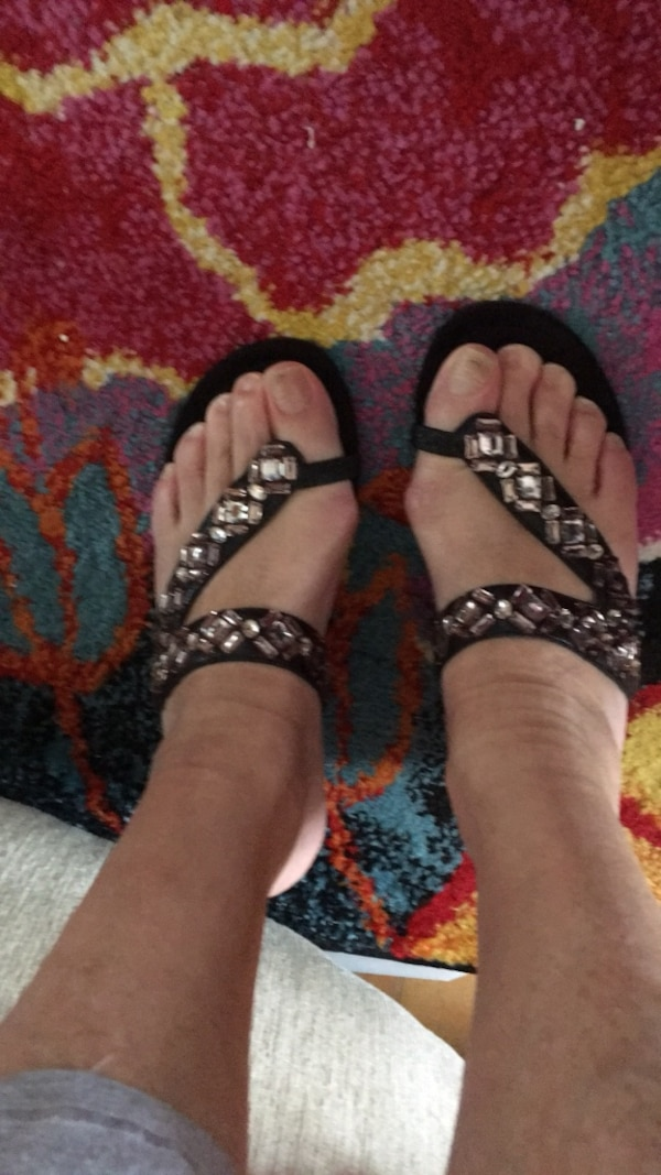 Gently used New York transit size 7 1/2 black jeweled sandals 404c144e-0ace-49c6-a4d6-4ce425957387