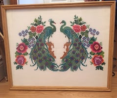 Framed Peacock Vintage across Stitch Picture