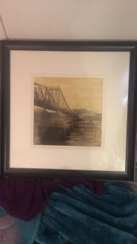 Brown wooden framed painting of house Hamilton, L9C 1J9