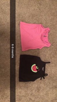 two 6-9 months black and pink tank tops Parker, 16049