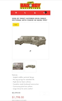 SOFA BY FANCY ALFONSO REVA FABRIC SECTIONAL WITH CHAISE IN HAZEL 9907. To Pick up Mississauga