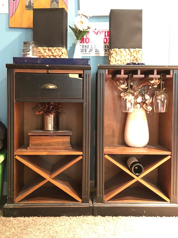 Beautiful stylish accent or storage pieces for dining, living , or kitchen  area . Wine stand also.