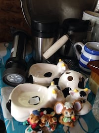 KITCHEN AND BATH MISCELLANEOUS-$10 cookie press, travel cups, tooth brush and soap holder, loaf pans, foil tray, ornaments, cereal storer, t pot and creamer Grande Prairie, T8V 1T7