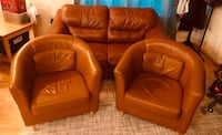 brown leather sofa chair and ottoman Frederick
