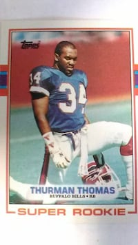 1989 Topps Thurman Thomas Super Rookie Card PURCELLVILLE