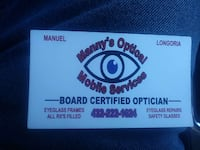 Manny's Optical Mobile Services business card