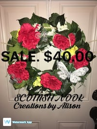 pink, green, and white floral wreath Stoney Creek, L8G 1C3