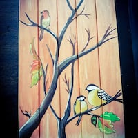 Three birds on black falltree(#woodenpaletdrawing)