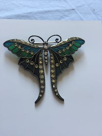 Stained glass butterfly brooch
