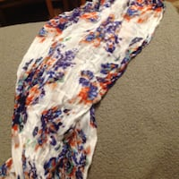 White Floral Patterned Scarf New Brighton