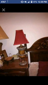brown wooden table lamp with brown lampshade