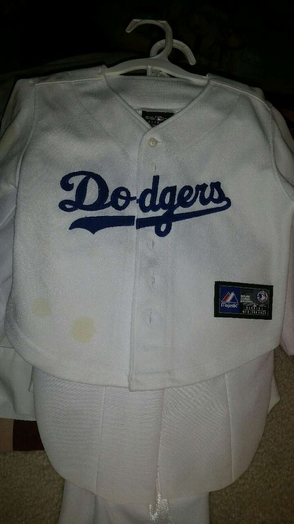 white Dodgers-printed button-up jersey