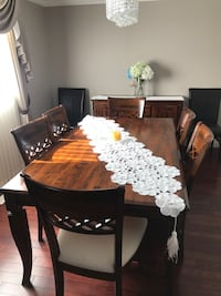 rectangular brown wooden dining table with chairs set Edmonton, T5E
