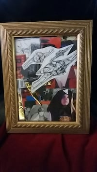 Sci-fi Pop Art Painting mixed media gold frame