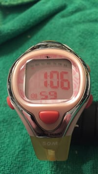 White face digital watch with yellow strap