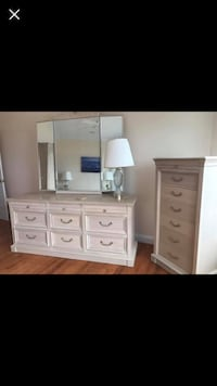 Dresser with mirror , 2 night stands, armoire, and y'all dresser , Solid wood, Off white  Waldorf