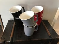 six grey, red, and black ceramic mugs Abbotsford, V2S 7P7