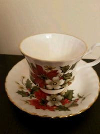 white and red floral ceramic teacup with saucer Toronto, M2M 4B9