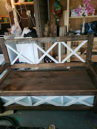 Hand crafted rustic outdoor storage bench Surrey