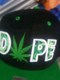 black and green cannabis print fitted cap El Monte, 91732
