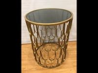 Gold metal Glass top side table