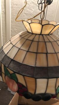 black and white stained glass pendant lamp