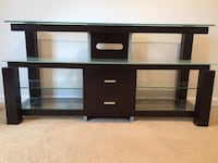 Black wooden frame glass top tv stand Chester, 21619