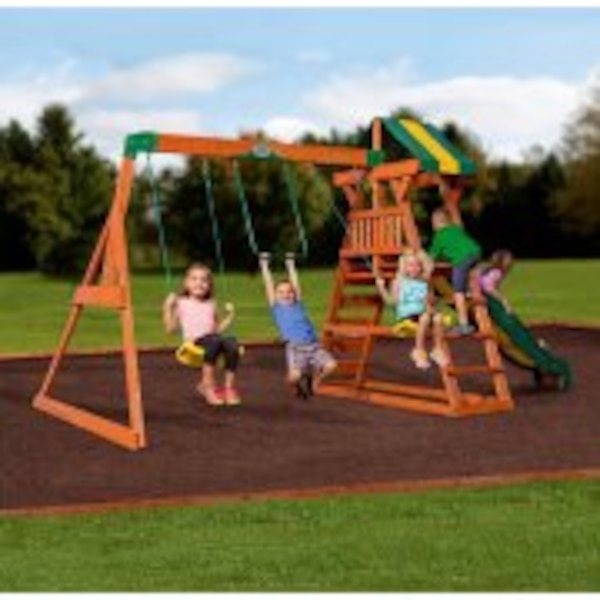 Used Backyard Discovery Madison Cedar Wooden Swing Set For Sale In