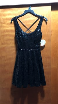 women's sequined black tank mini dress