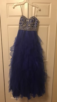Silver and royal blue strapless dress Richmond, 40475