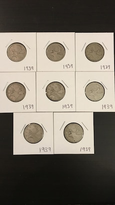 1939 silver Canadian quarters
