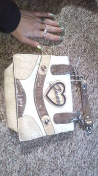 gray and white leather crossbody bag Red Deer