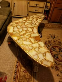 Boomerang marble table.
