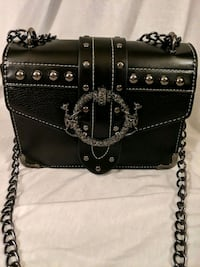 Black Leather top handle with black chain strap. Halethorpe, 21227