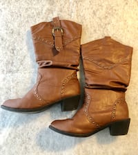 pair of studded brown leather chunky-heeled boots