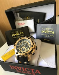 Brand new authentic invicta bolt .  W box and papers. 50 mm.   Reloj Nuevo bolt. Dorado. Caja y papeles! Brand new authentic invicta bolt. 50 mm. Box and papers. Price lowered.  Buy with trust.   All watches are new authentic with  box and papers. Check m Miami, 33179