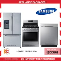 Brand new samsung 3pc appliances package is now at sale at vry lowest price in gta  Brampton
