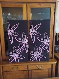 """2 PURE SILK FLORAL WALL DECOR (Price is for Both Pieces) - 29""""x14"""" 1470 mi"""