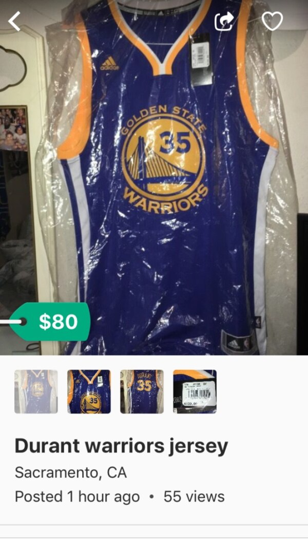 sports shoes 35708 cf125 blue, white, and yellow Golden state Warriors Kevin Durant jersey shirt  with pack screenshot