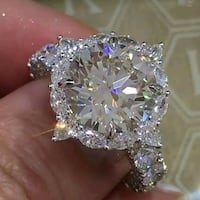 Huge Silver Colored Crystal Ring Milwaukee