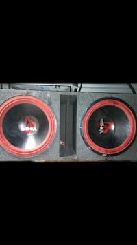 black and red Vega twin subwoofer speaker