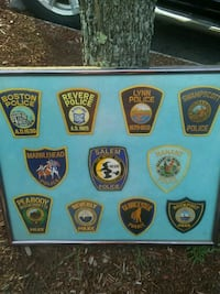 Police patches in frame