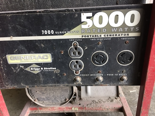 black and red 5000 Watts portable generator