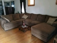 brown suede sectional sofa with throw pillows Baltimore, 21206