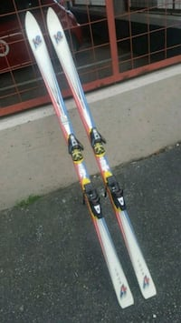 pair of white snow skis Vancouver, V6B 0G2