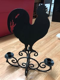 "Metal Stand Rooster Candle Holder 18"" x 14"" 2333 mi"