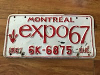 Vintage Montreal expo67 license plate Rimbey, T0C