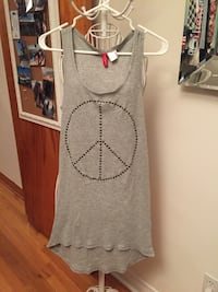 stainless steel studded peace sign gray tank dress