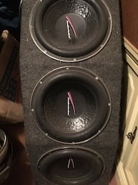 gray and black subwoofer