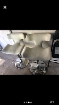3 Bar Stool Chairs w/ adjustable height 2 white & 1 black All 3 for $35